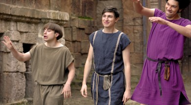 From Rise Films  Plebs: SR3 on ITV2  Pictured: Grumio [Ryan Sampson], Marcus [Tom Rosenthal] and Stylax [Joel Fry].  This photograph is (C) Rise Films and can only be reproduced for editorial purposes directly in connection with the programme or event mentioned above or ITV plc. Once made available by ITV plc Picture Desk, this photograph can be reproduced once only up until the transmission [TX] date and no reproduction fee will be charged. Any subsequent usage may incur a fee. This photograph must not be manipulated [excluding basic cropping] in a manner which alters the visual appearance of the person photographed deemed detrimental or inappropriate by ITV plc Picture Desk.  This photograph must not be syndicated to any other company, publication or website, or permanently archived, without the express written permission of ITV Plc Picture Desk. Full Terms and conditions are available on the website www.itvpictures.com  For further information please contact: james.hilder@itv.com / 0207 157 3052